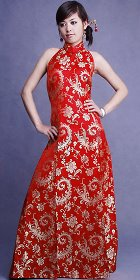 Cut-in Shoulders A-line Long-length Cheongsam (CM)