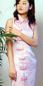 Sleeveless Folding Collar Front Slit Long-length Cheongsam (CM)