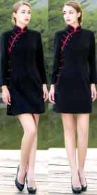 Long-sleeve Short-length Velvet Cheongsam (CM)