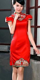 Puff-sleeve Mid-length Cheongsam (CM)