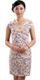 Cup-sleeve Short-length Embroidery Cheongsam (RM)