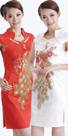 Cup-sleeve Short-length Phoenix Embroidery Cheongsam (RM)