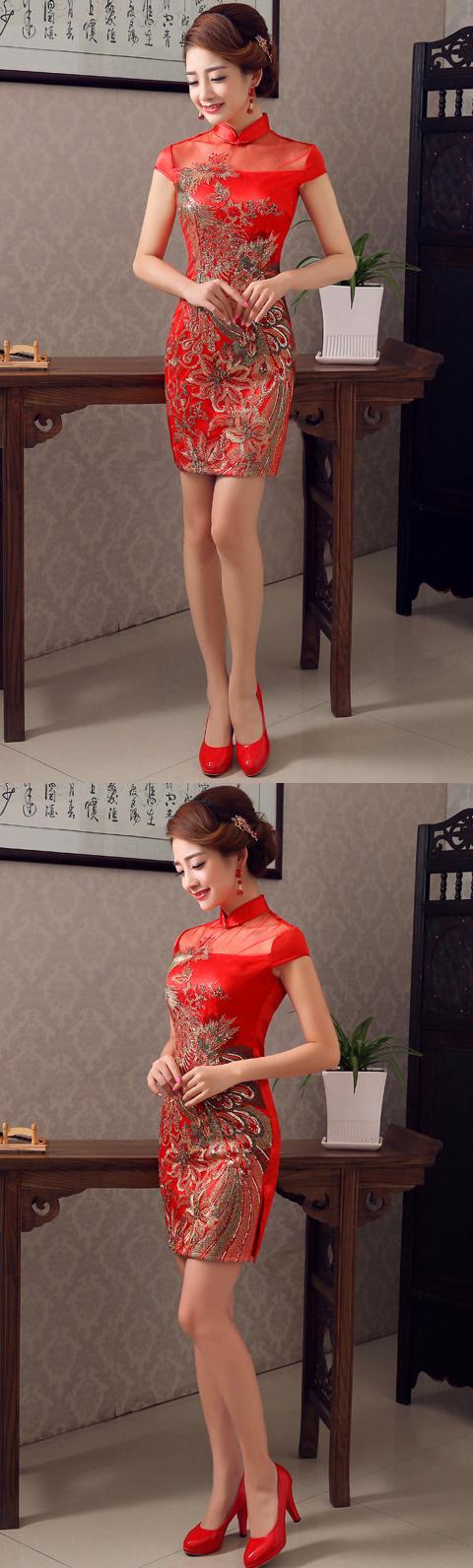 碗袖短身旗袍(成衣)