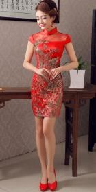 特價品-碗袖短身旗袍(成衣)