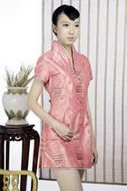 浮雕繡花短袖短旗袍(橙色)