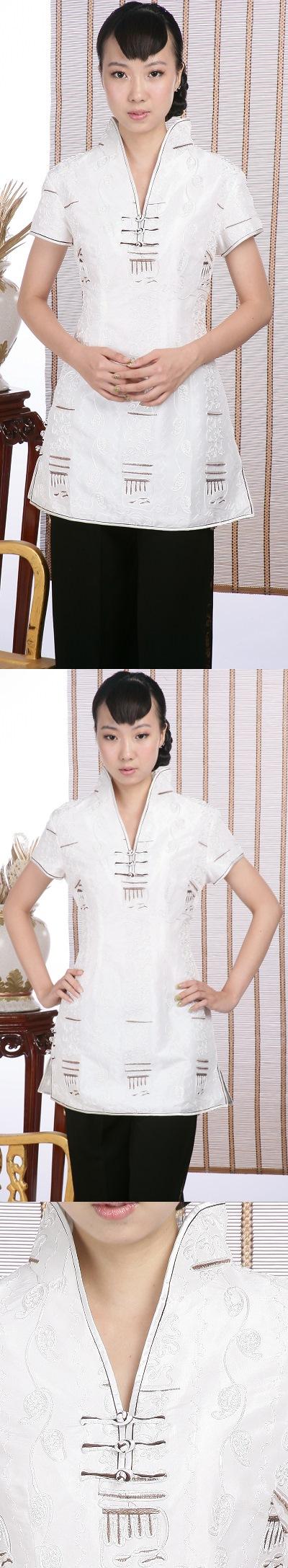 Short-sleeve Embossed Embroidery Mini Cheongsam Dress (White)