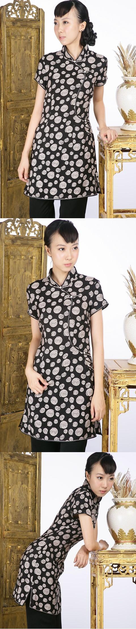 印花短袖短旗袍(黑色)