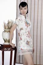 印花短袖短旗袍(白色)