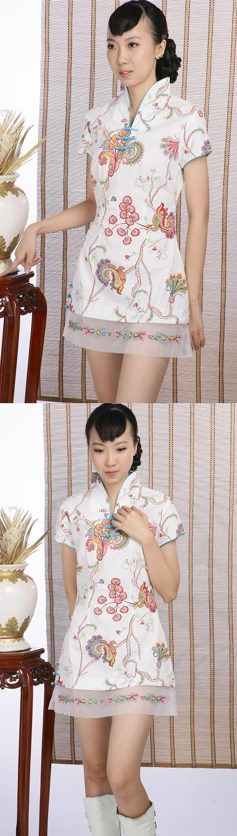 Short-sleeve Printed Pattern Cheongsam Dress (White)