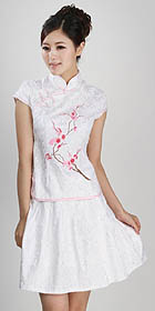 Cup-sleeve Short-length Embroidery Skirt Suit (RM)