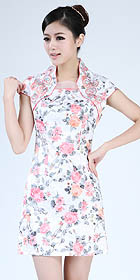 Cuff-sleeve Short-length Embroidery Dress (RM)