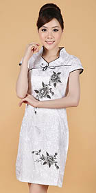 Cuff-sleeve Short-length Embroidery Cheongsam (RM)