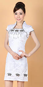Cup-sleeve Short-length Embroidery Dress (RM)