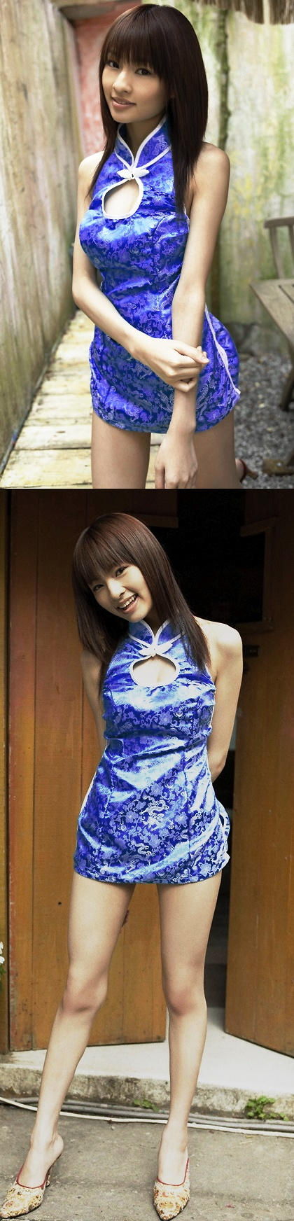 Cut-in Shoulders Bareback Short Sexy Cheongsam (CM)