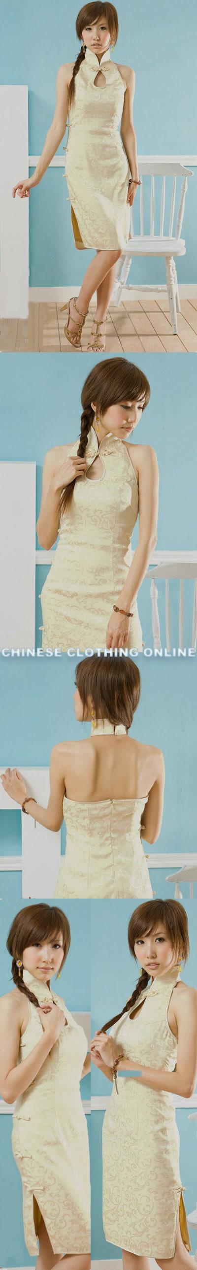 Cut-in Shoulders Bareback Mid-length Cheongsam (CM)