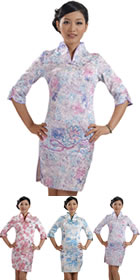 Elbow-sleeve Short-length Embroidery Cheongsam (RM)