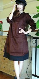 Ethnic Long-sleeve Half Dual-Layer Dress (CM)