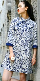 Ethnic 3/4-Sleeve Standing Collar Dress (CM)
