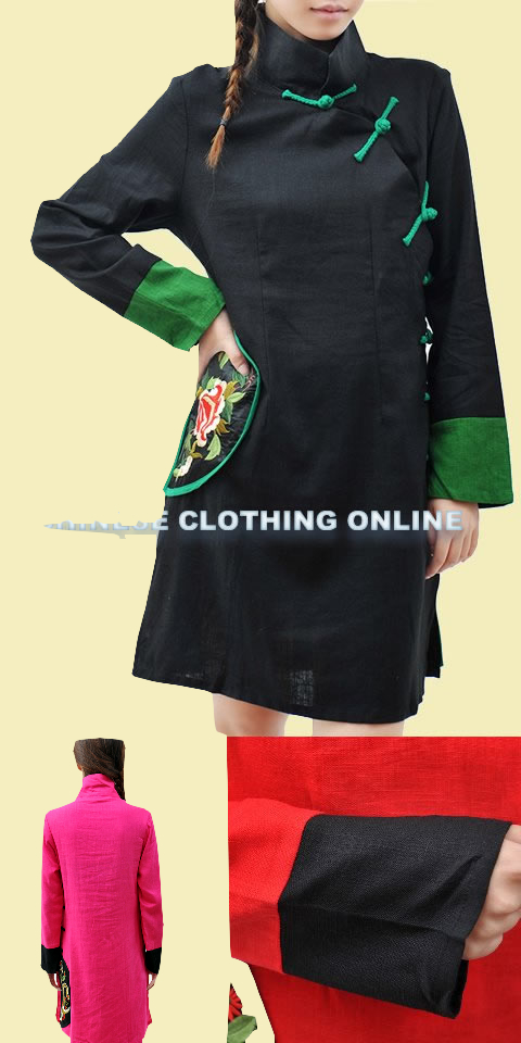 Ethnic Long-sleeve Embroidery Patch Dress (CM)