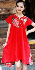 Ethnic Floral Printing Patches A-line Dress (CM)