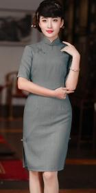 Elbow-sleeve Cotton-linen Mid-length Cheongsam (CM)