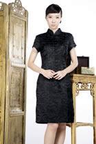 吉祥暗花短袖中旗袍(黑色)