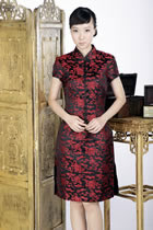 Short-sleeve Blessing Embroidery Midi Cheongsam Dress (Red/Black)