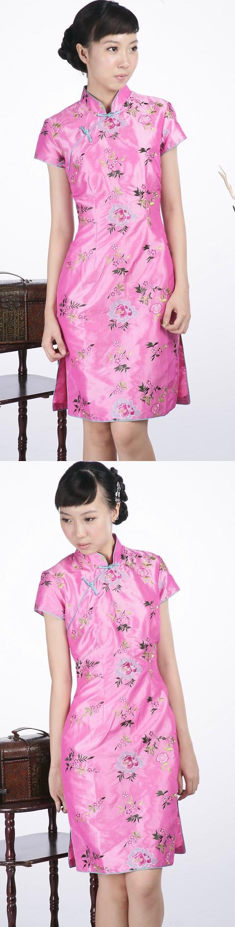 繡花短袖中旗袍(粉紅)