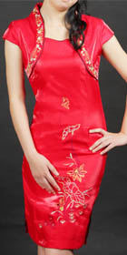 Bargain - Cup-sleeve Short-length Embroidery Cheongsam (Red)