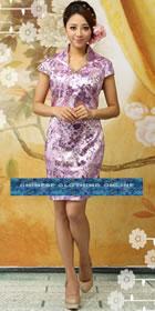 Cup-sleeve Mid-length Cheongsam - Violet (RM)