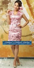 Cup-sleeve Mid-length Cheongsam - Pink (RM)