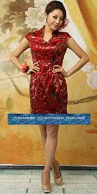 Cup-sleeve Mid-length Cheongsam - Burgundy (RM)
