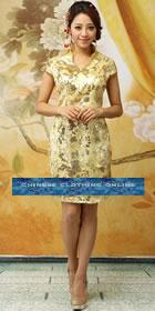 Cup-sleeve Mid-length Cheongsam - Gold (RM)