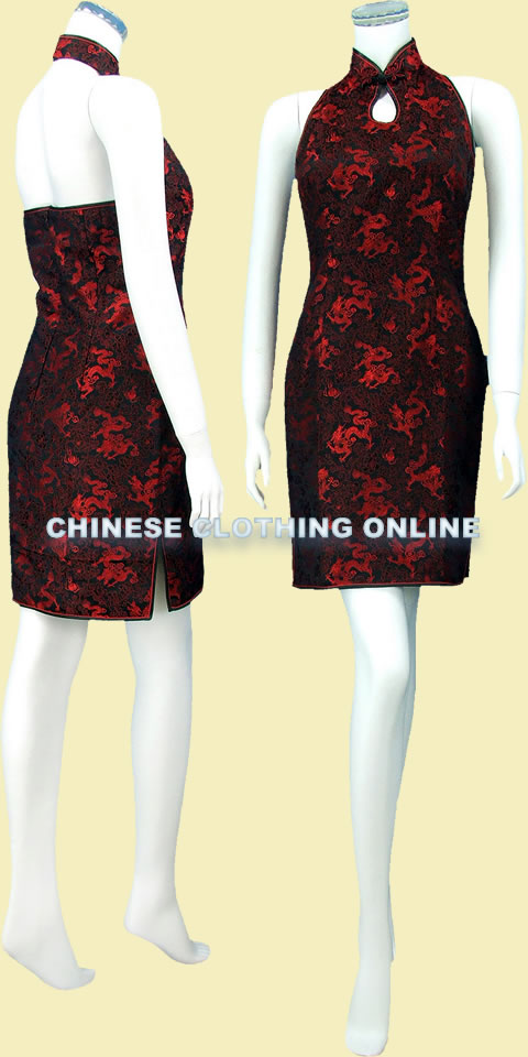 Cut-in Shoulders Bareback Mid-length Cheongsam (CM)