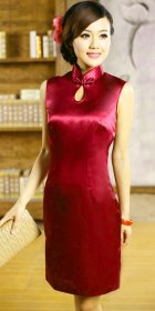 Sleeveless Mid-length Cheongsam (CM)
