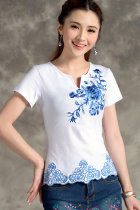 Ethnic Floral Embroidery Short-sleeve Blouse - Black (RM)