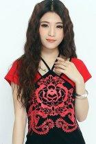 民族風印花吊帶上衣-紅色 (成衣)