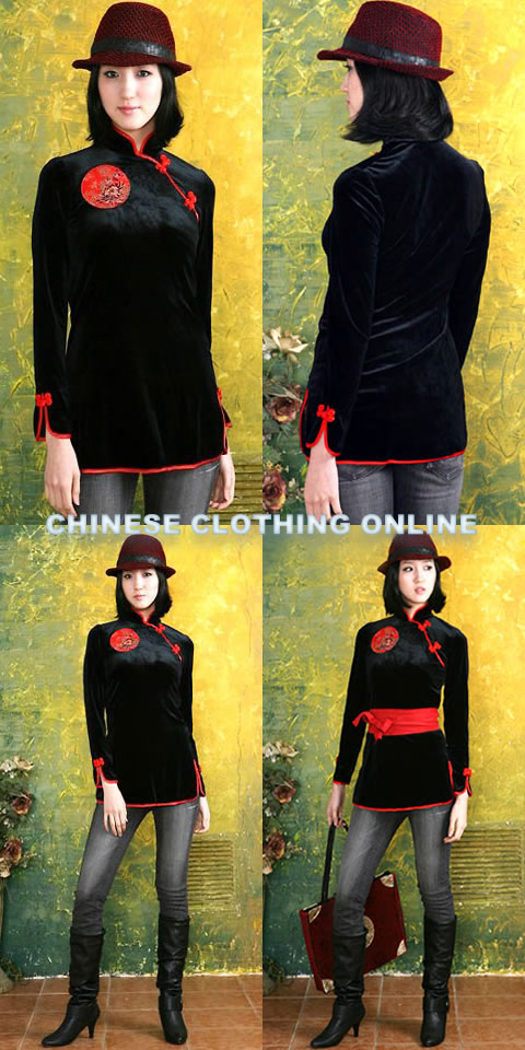 Long-sleeve Mandarin Blouse w/ Sash (CM)