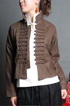 Ethnic Cotton Dash Frog Array Blouse/Jacket (CM)