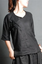 Ethnic 3/4-Sleeve Round Collar Blouse (CM)