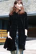 Ethnic 3/4-sleeve Velvet Long Blouse (CM)