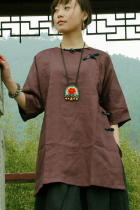 Ethnic 3/4-sleeve Blouse (CM)