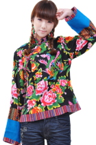 Ethnic Long-sleeve Floral Printing Blouse (CM)