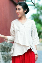 Ethnic 3/4-Sleeve Cross-lap Blouse (CM)