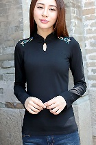 Ethnic Floral Embroidery Long-sleeve Blouse - Black (RM)