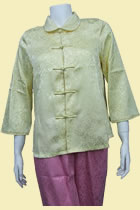 Bargain - 3/4-sleeve Double-Fish and Peony Mandarin Blouse (Lt. Yellow, M)