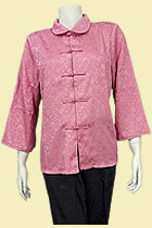 Bargain - 3/4-sleeve Double-Fish and Peony Mandarin Blouse (Pink, XL)