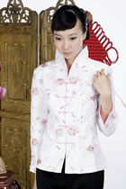 Floral Embroidery Mandarin Jacket (White)