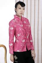 Floral Embroidery Mandarin Jacket (Fuchsia)