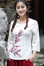 手繪梅花7分袖民族風上衣(成衣)